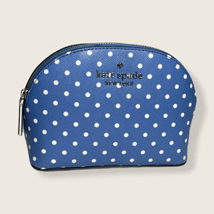 Kate Spade cosmetic pouch dots blue/white new